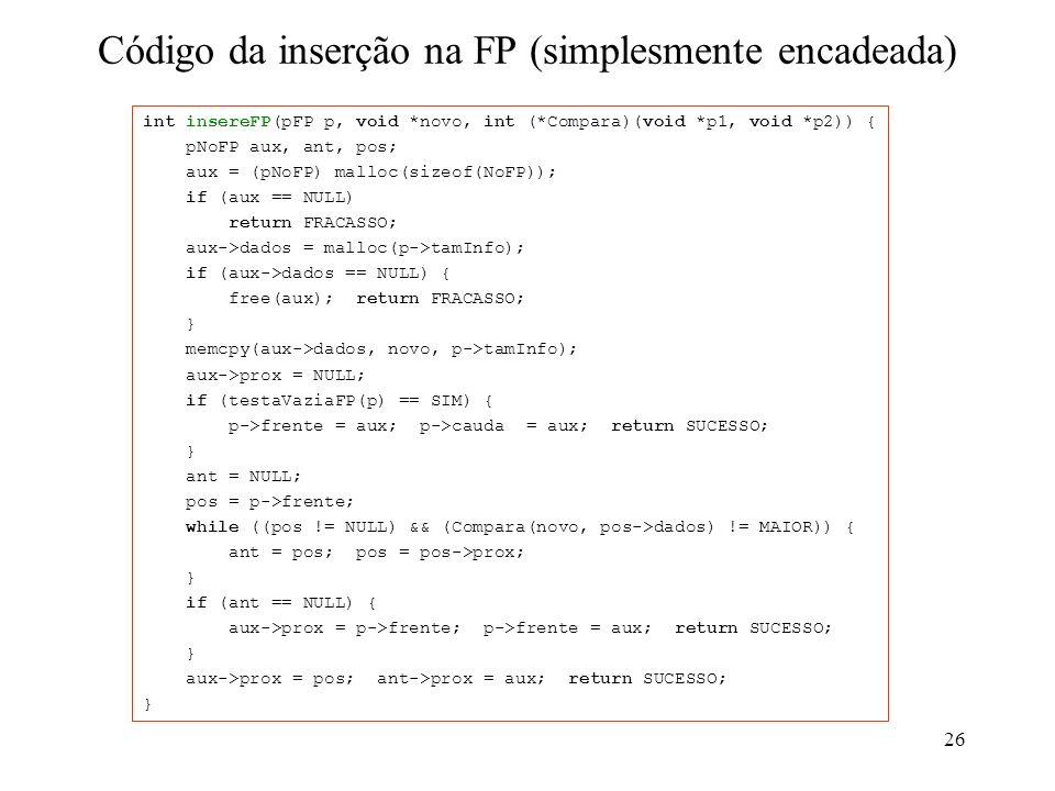 Código da inserção na FP (simplesmente encadeada)