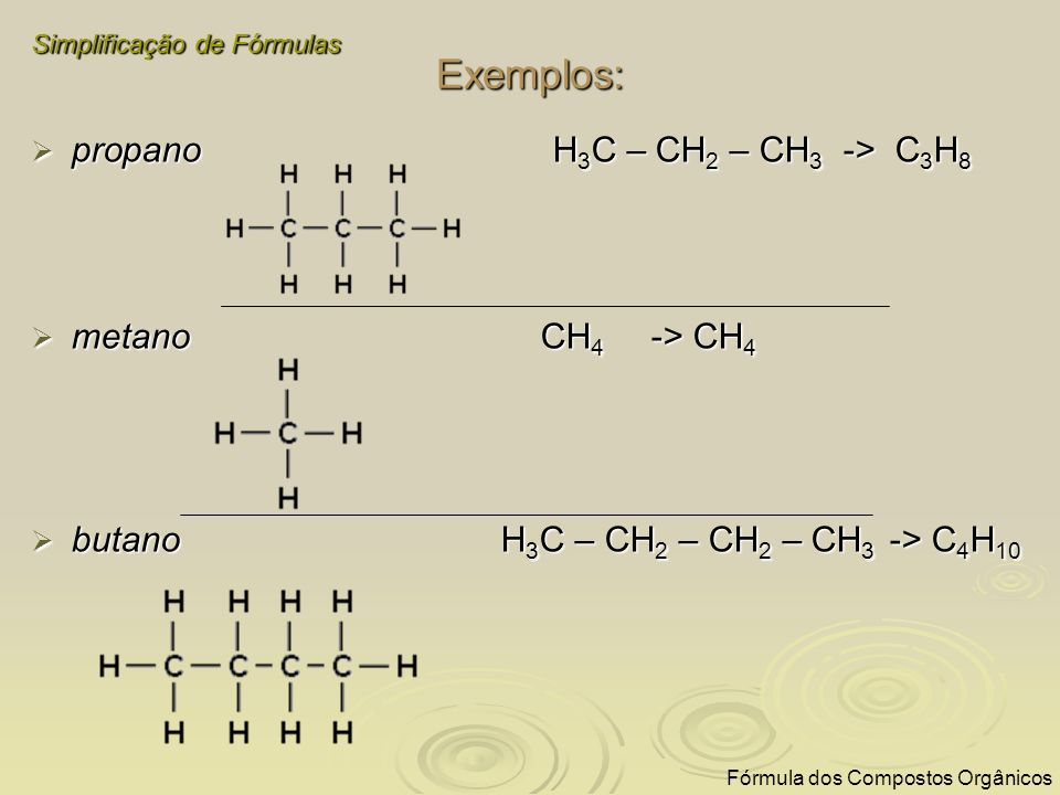 Exemplos: propano H3C – CH2 – CH3 -> C3H8 metano CH4 -> CH4