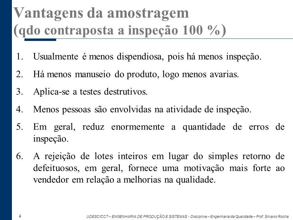 Vantagens da amostragem (qdo contraposta a inspeção 100 %)