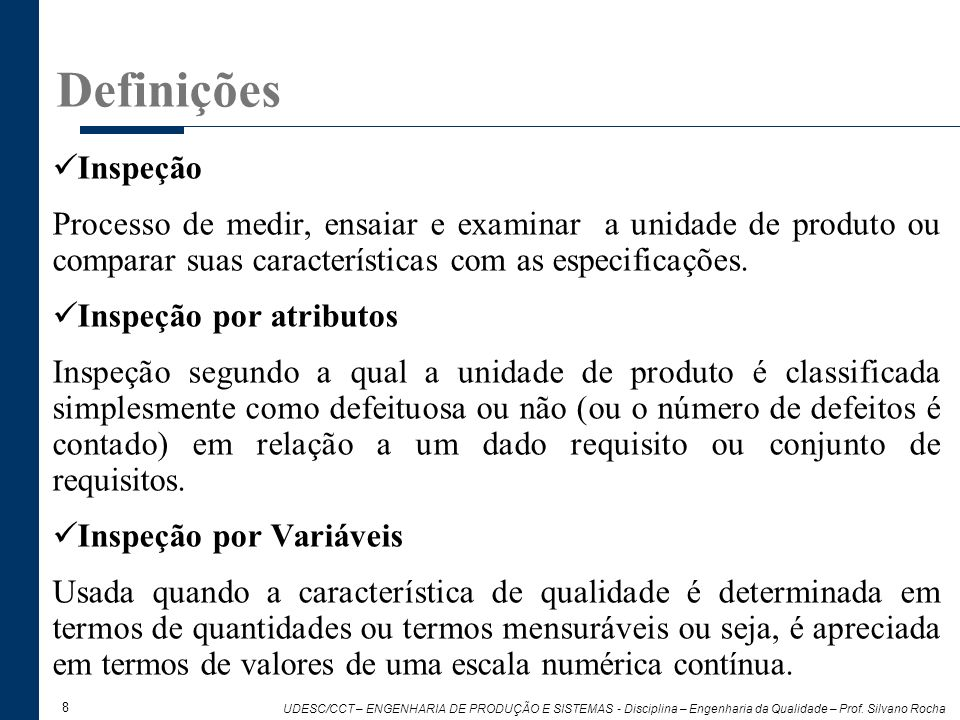 Definições Inspeção. Processo de medir, ensaiar e examinar a unidade de produto ou comparar suas características com as especificações.
