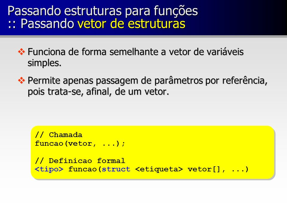 Passando estruturas para funções :: Passando vetor de estruturas