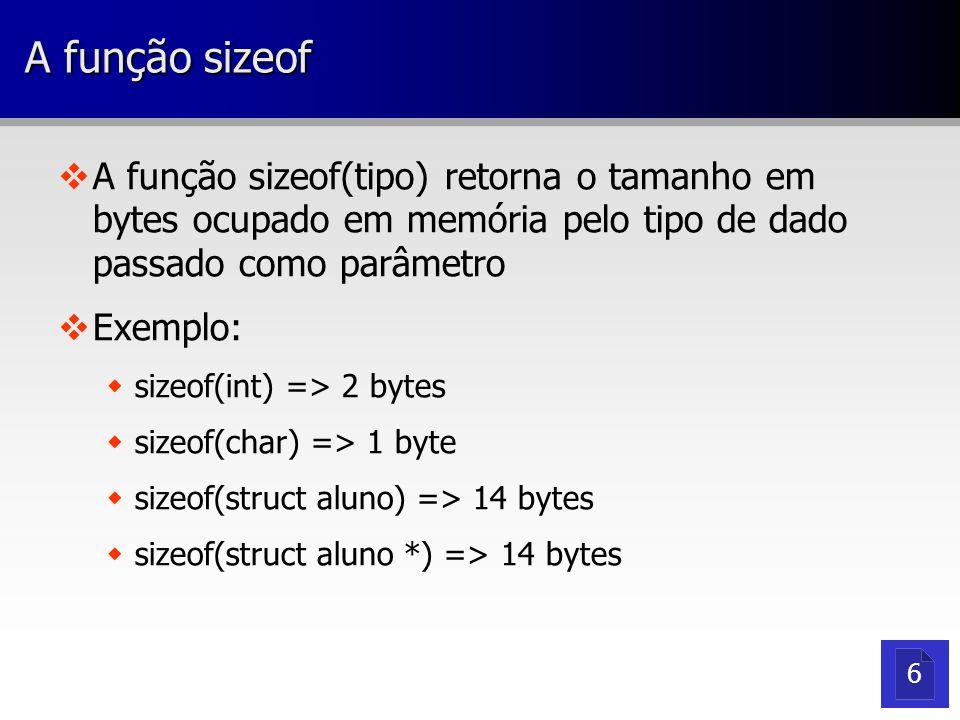 A função sizeof A função sizeof(tipo) retorna o tamanho em bytes ocupado em memória pelo tipo de dado passado como parâmetro.