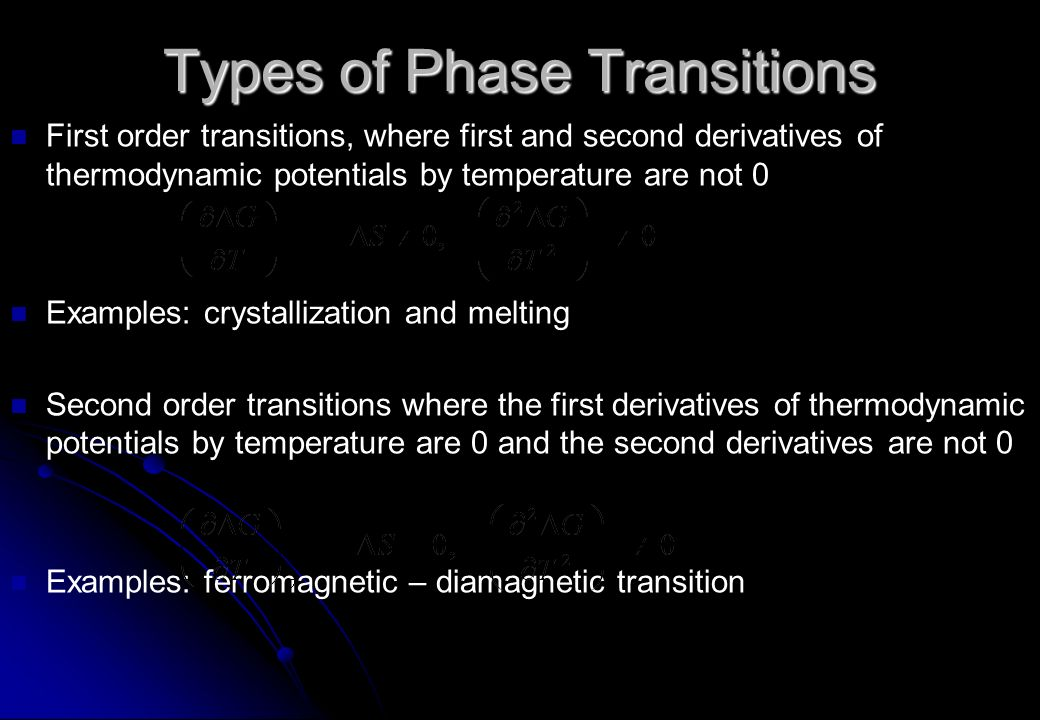 Types of Phase Transitions