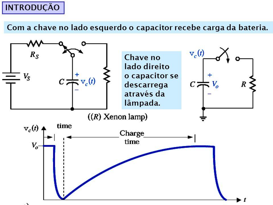 INTRODUÇÃOCom a chave no lado esquerdo o capacitor recebe carga da bateria. Chave no lado direito. o capacitor se descarrega.
