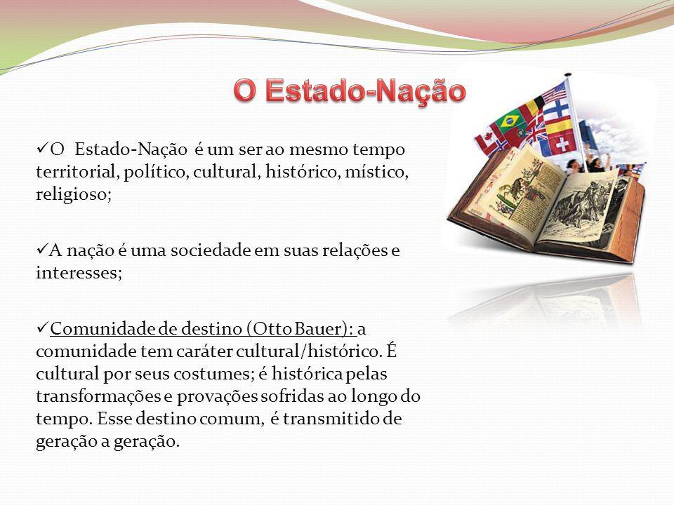 O Estado-Nação O Estado-Nação é um ser ao mesmo tempo territorial, político, cultural, histórico, místico, religioso;