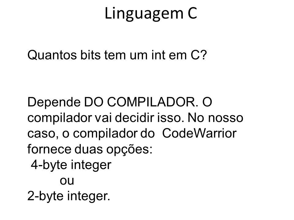 Linguagem C Quantos bits tem um int em C