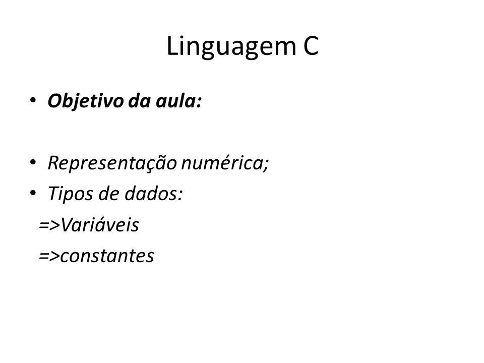 Linguagem C Objetivo da aula: Representação numérica; Tipos de dados: