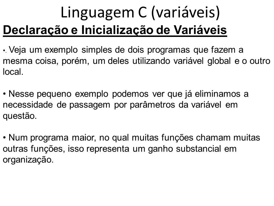 Linguagem C (variáveis)