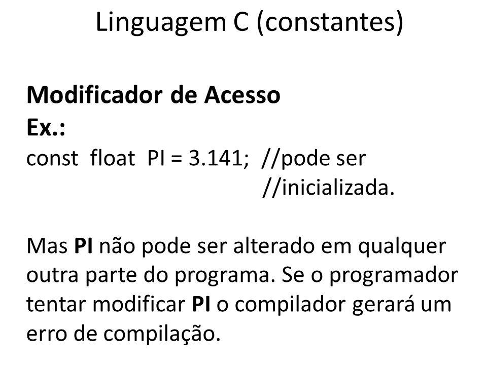 Linguagem C (constantes)