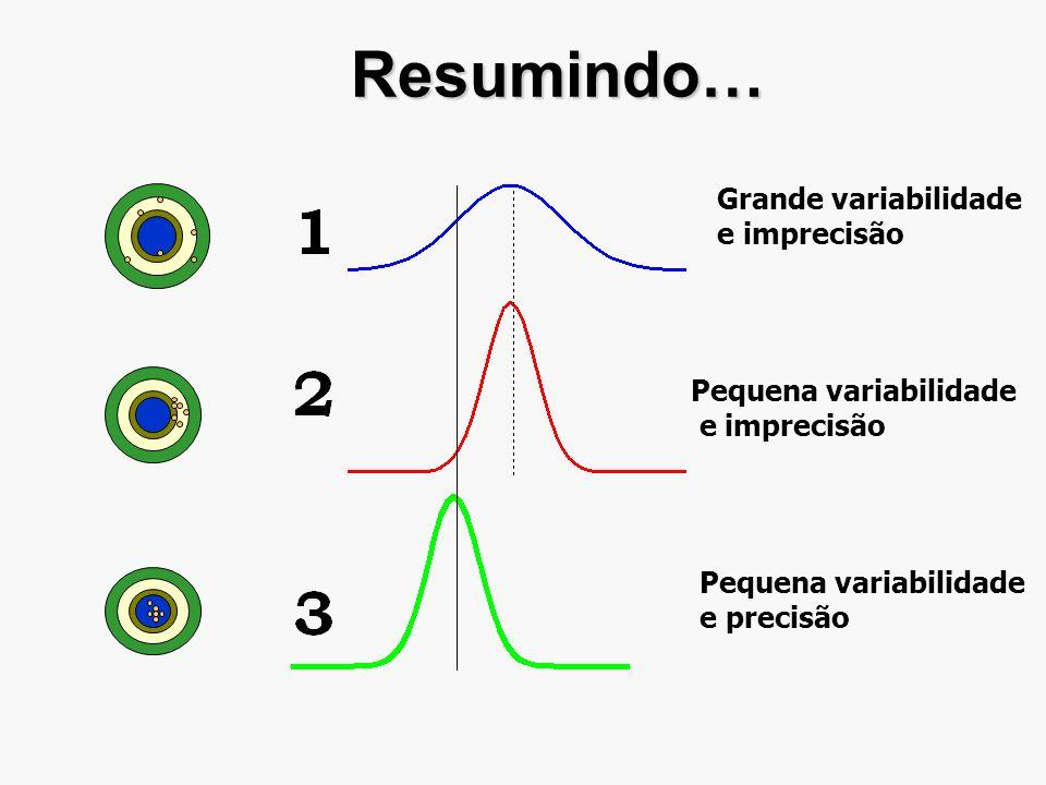 Resumindo… Grande variabilidade e imprecisão Pequena variabilidade