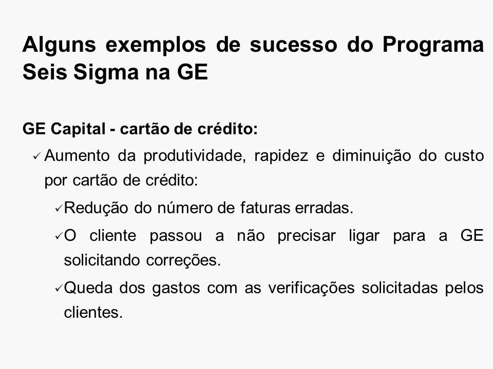 Alguns exemplos de sucesso do Programa Seis Sigma na GE