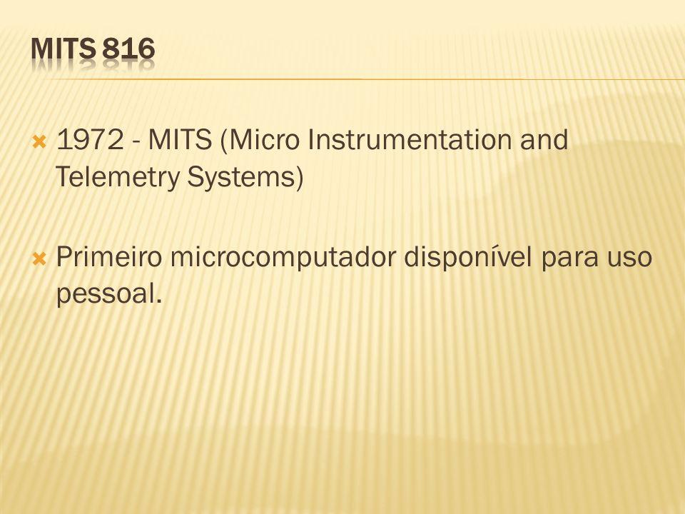 MITS 816 1972 - MITS (Micro Instrumentation and Telemetry Systems) Primeiro microcomputador disponível para uso pessoal.