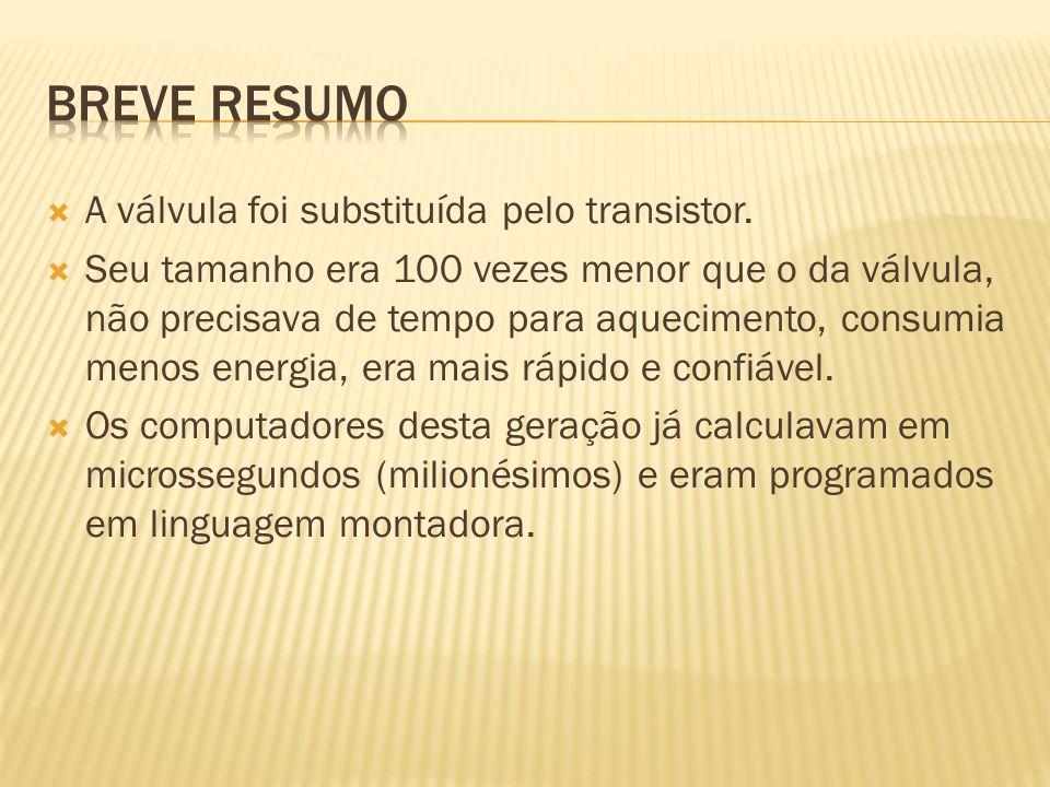 Breve Resumo A válvula foi substituída pelo transistor.