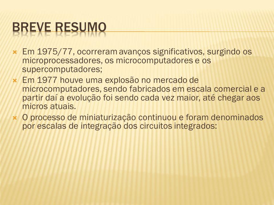 Breve Resumo Em 1975/77, ocorreram avanços significativos, surgindo os microprocessadores, os microcomputadores e os supercomputadores;