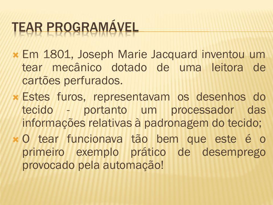 Tear programável Em 1801, Joseph Marie Jacquard inventou um tear mecânico dotado de uma leitora de cartões perfurados.