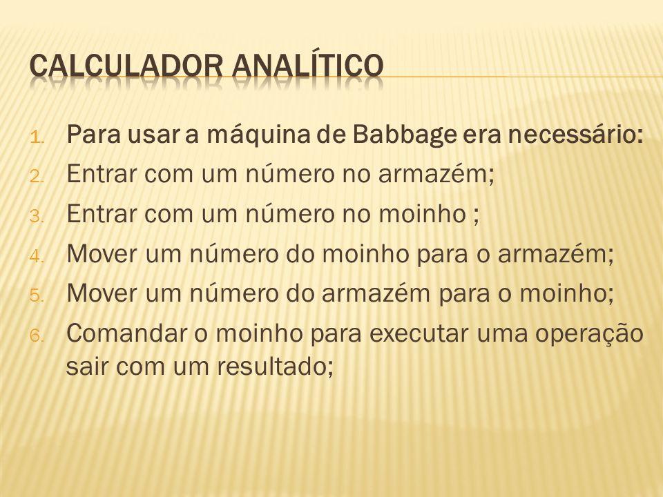 Calculador analítico Para usar a máquina de Babbage era necessário: