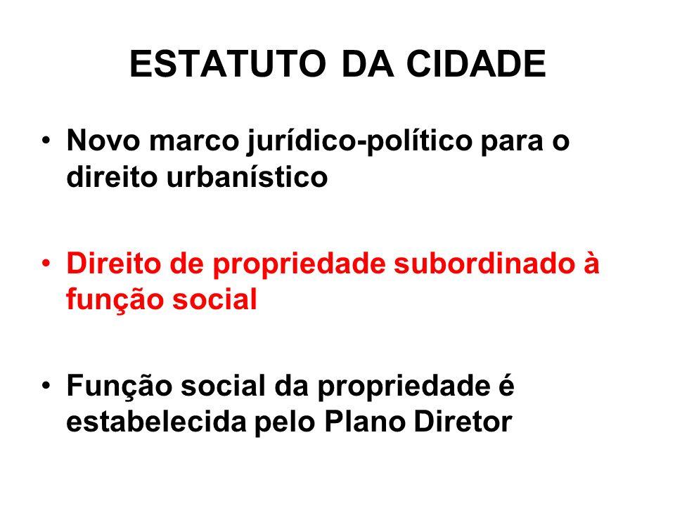 ESTATUTO DA CIDADE Novo marco jurídico-político para o direito urbanístico. Direito de propriedade subordinado à função social.