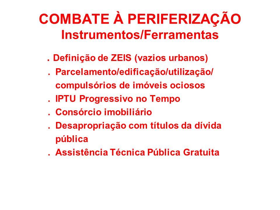 COMBATE À PERIFERIZAÇÃO Instrumentos/Ferramentas