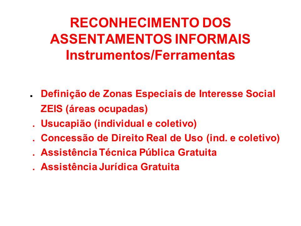 RECONHECIMENTO DOS ASSENTAMENTOS INFORMAIS Instrumentos/Ferramentas