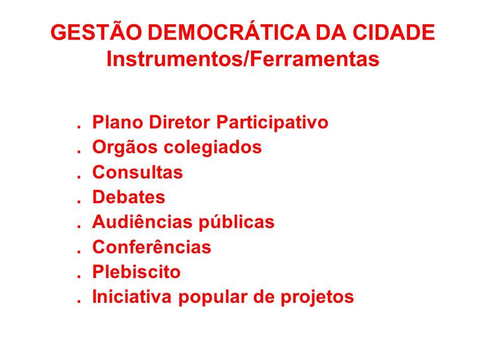 GESTÃO DEMOCRÁTICA DA CIDADE Instrumentos/Ferramentas