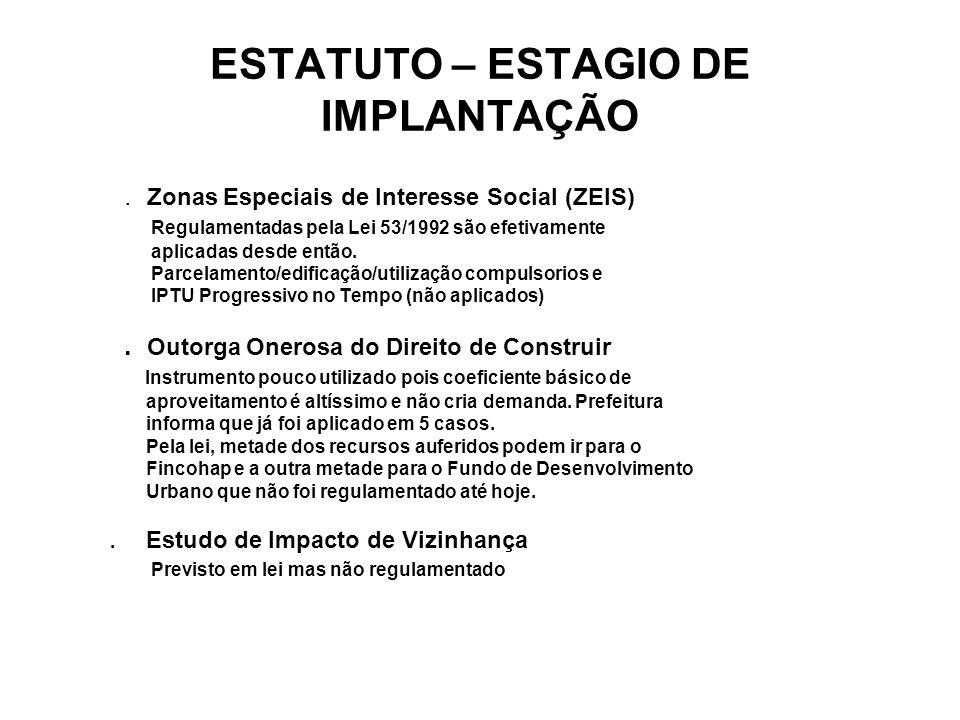 ESTATUTO – ESTAGIO DE IMPLANTAÇÃO