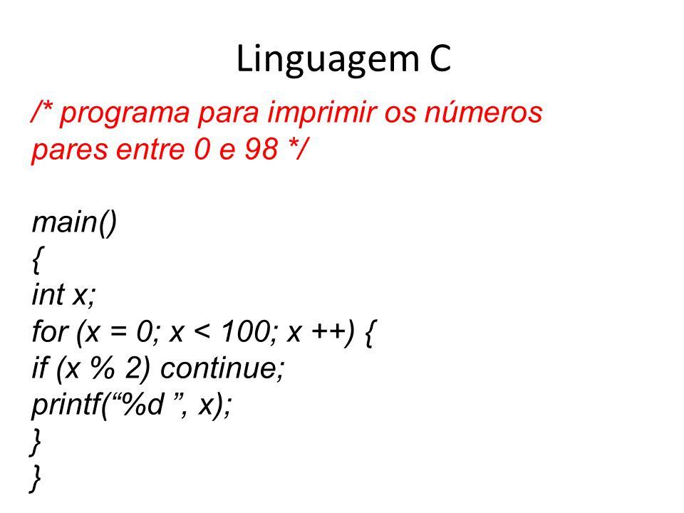 Linguagem C /* programa para imprimir os números pares entre 0 e 98 */