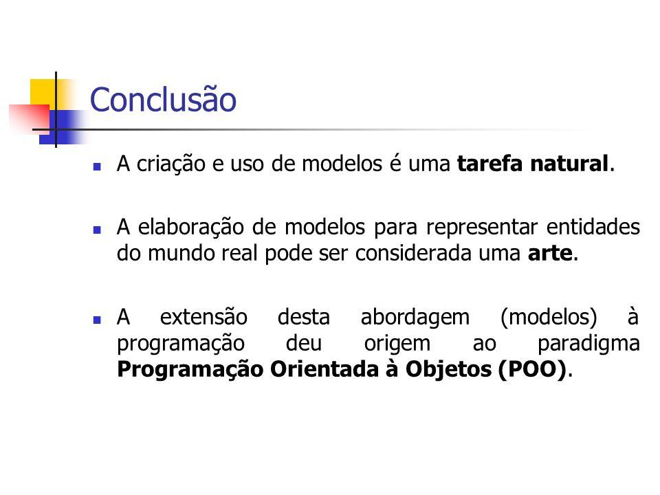 Conclusão A criação e uso de modelos é uma tarefa natural.