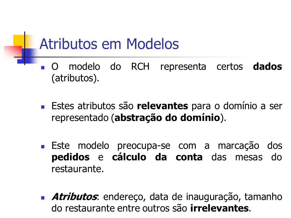 Atributos em Modelos O modelo do RCH representa certos dados (atributos).