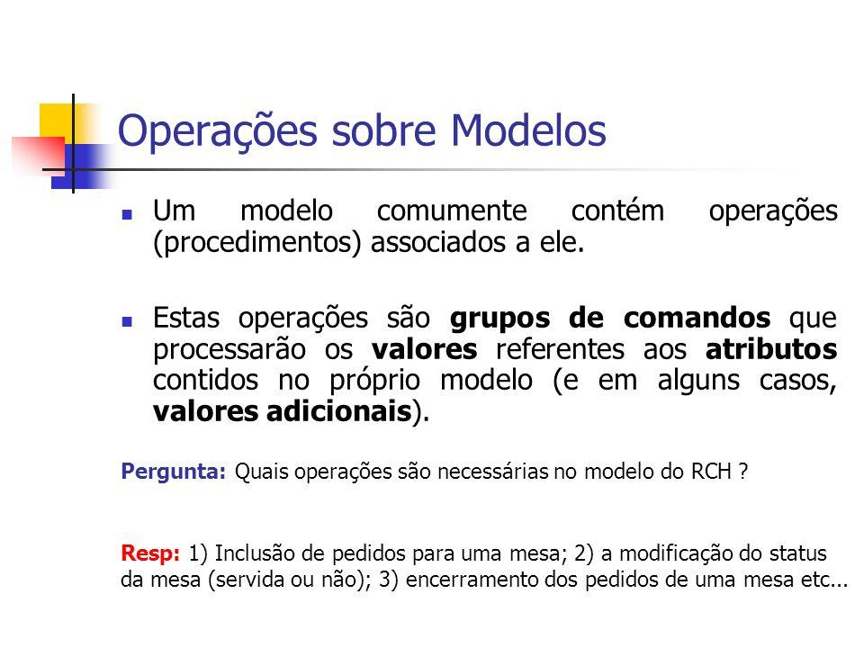 Operações sobre Modelos