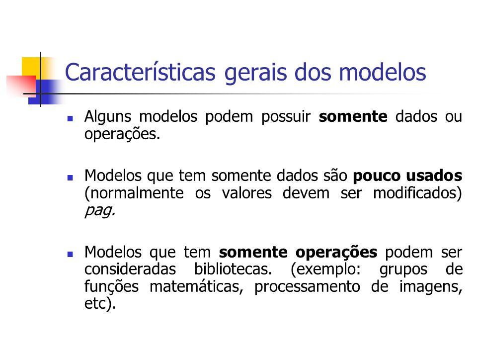 Características gerais dos modelos