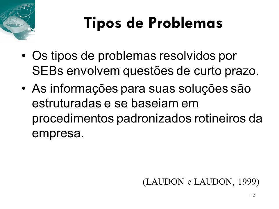 Tipos de Problemas Os tipos de problemas resolvidos por SEBs envolvem questões de curto prazo.