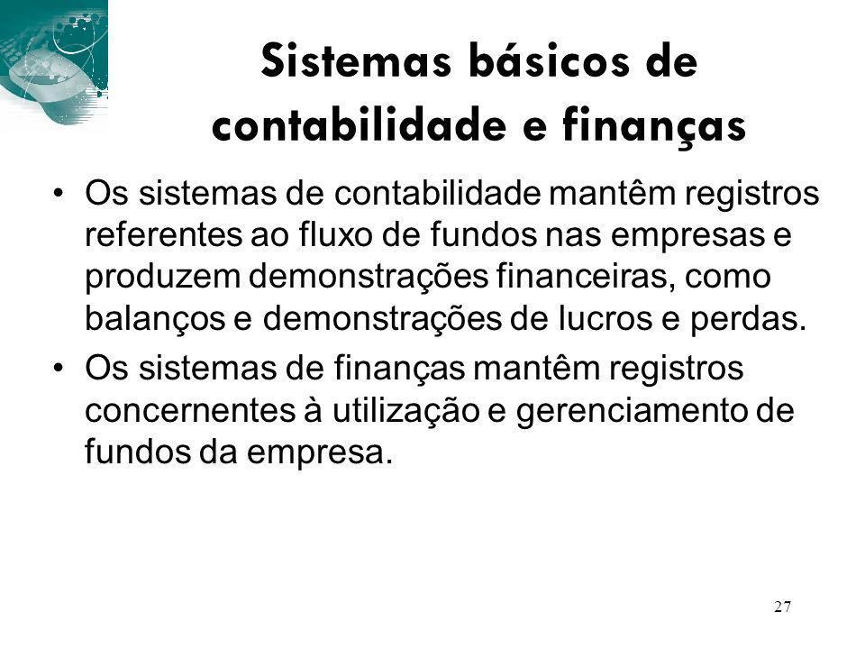 Sistemas básicos de contabilidade e finanças