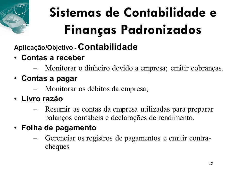Sistemas de Contabilidade e Finanças Padronizados