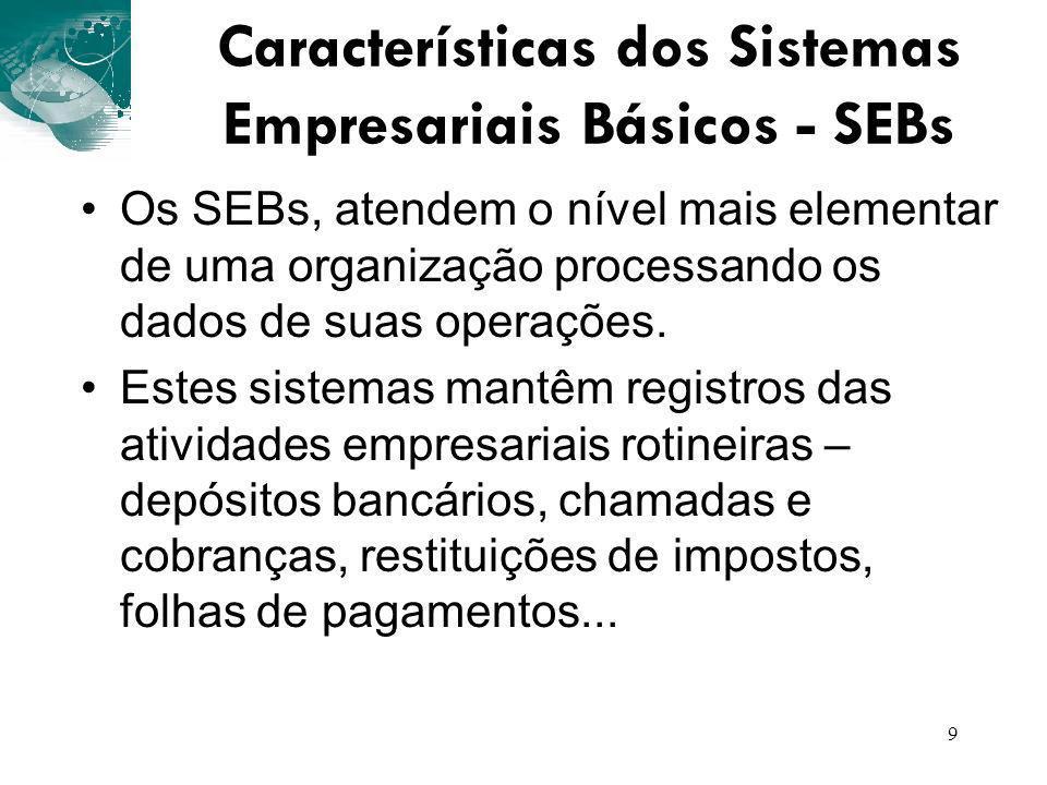 Características dos Sistemas Empresariais Básicos - SEBs