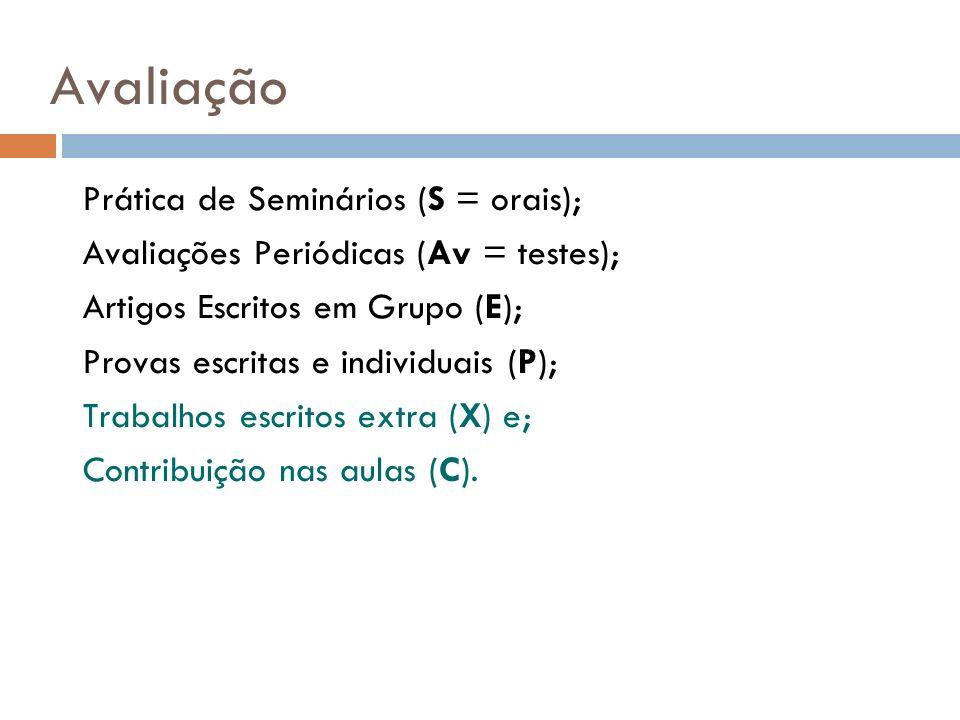 Avaliação Prática de Seminários (S = orais);