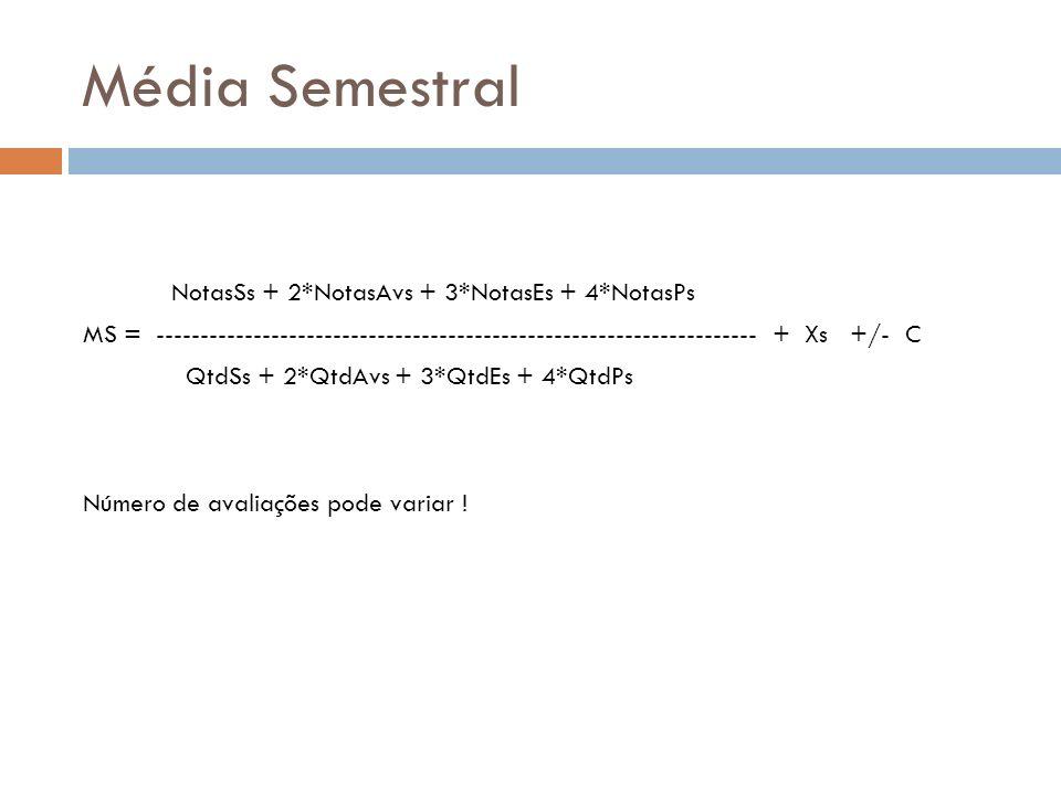Média Semestral NotasSs + 2*NotasAvs + 3*NotasEs + 4*NotasPs