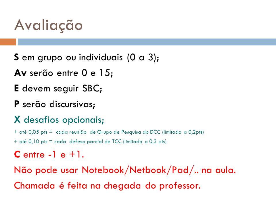Avaliação S em grupo ou individuais (0 a 3); Av serão entre 0 e 15;
