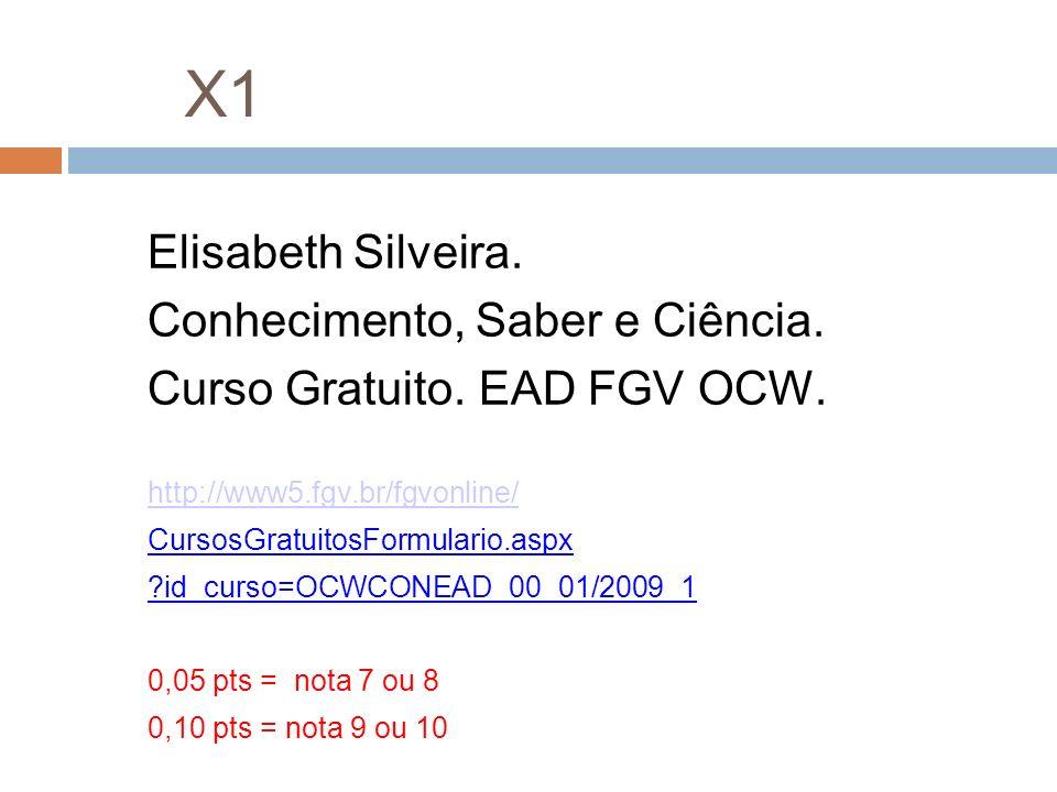 X1 Elisabeth Silveira. Conhecimento, Saber e Ciência.
