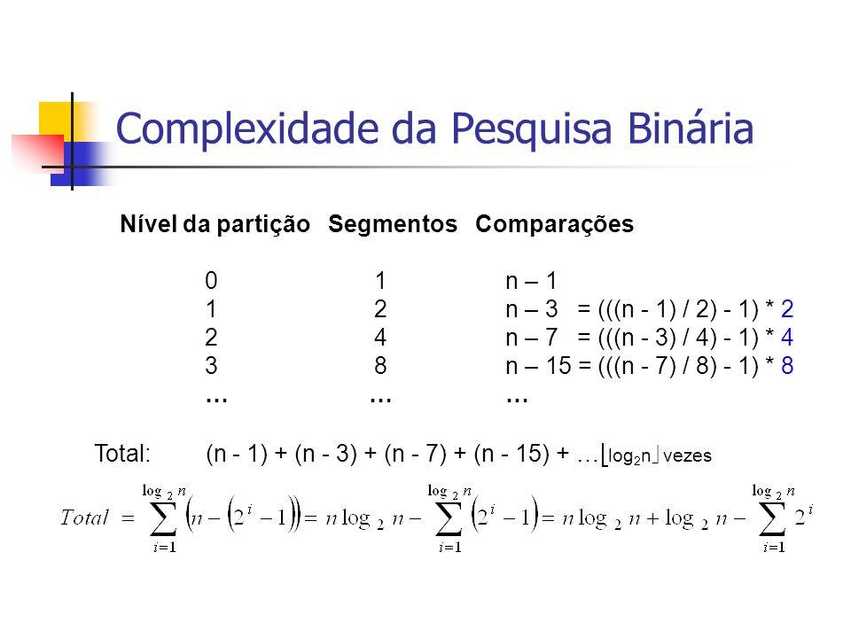 Complexidade da Pesquisa Binária