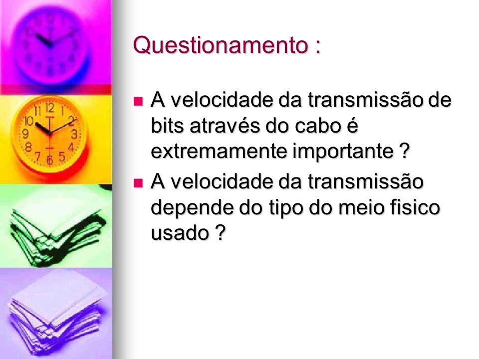 Questionamento : A velocidade da transmissão de bits através do cabo é extremamente importante