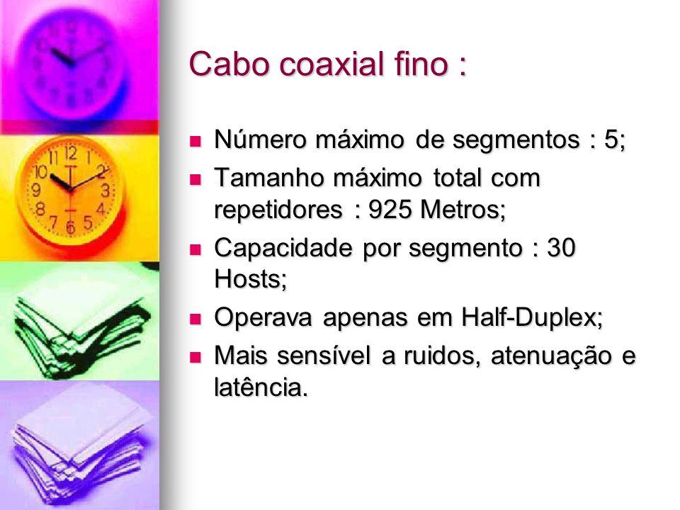 Cabo coaxial fino : Número máximo de segmentos : 5;