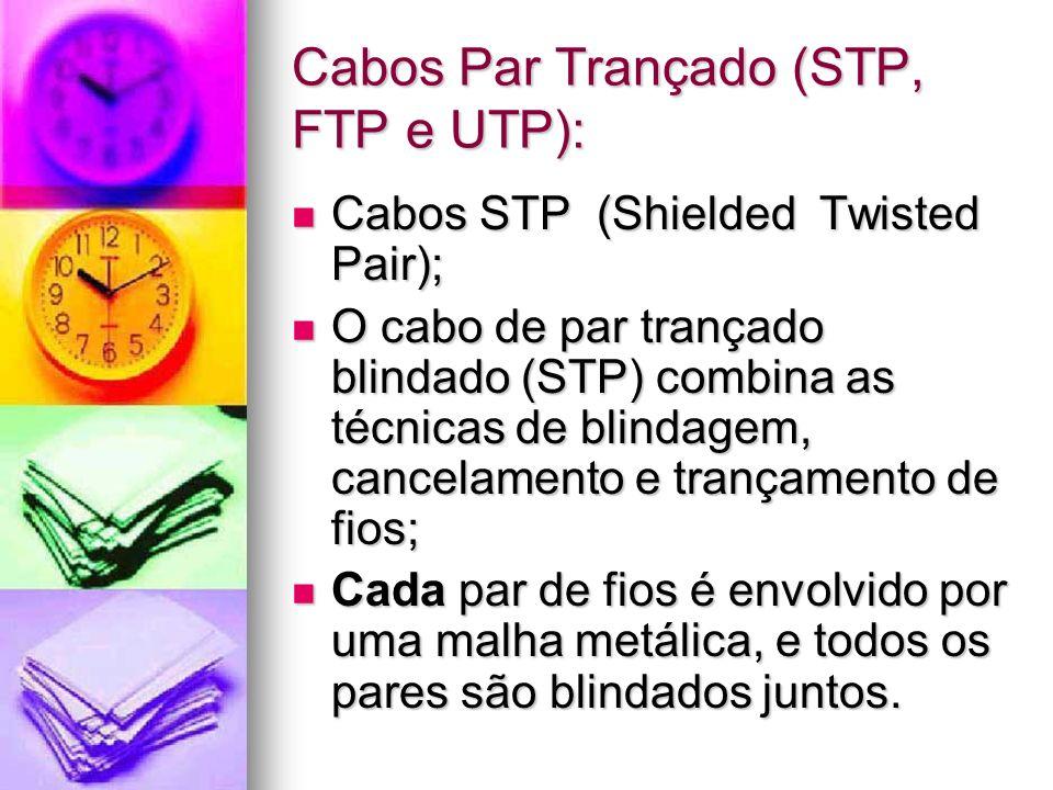 Cabos Par Trançado (STP, FTP e UTP):
