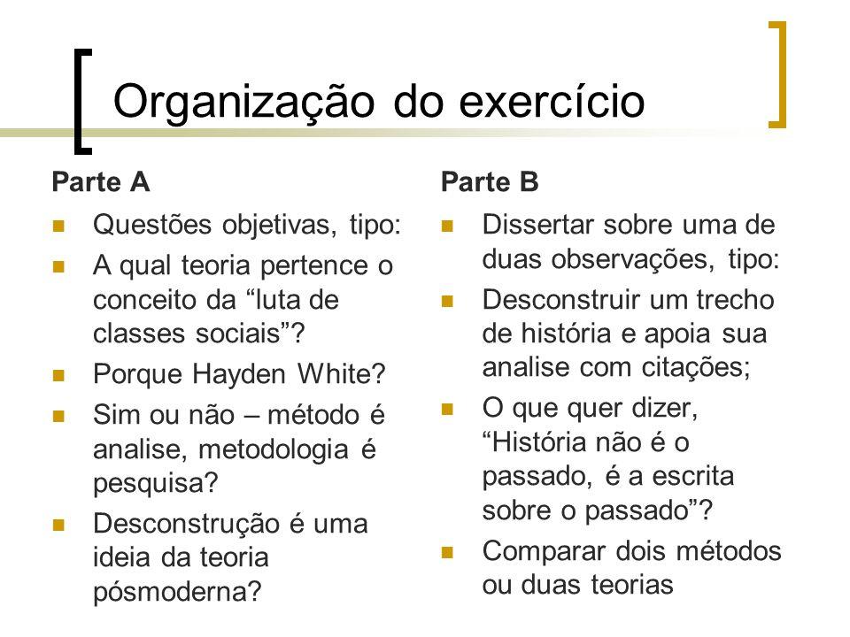 Organização do exercício