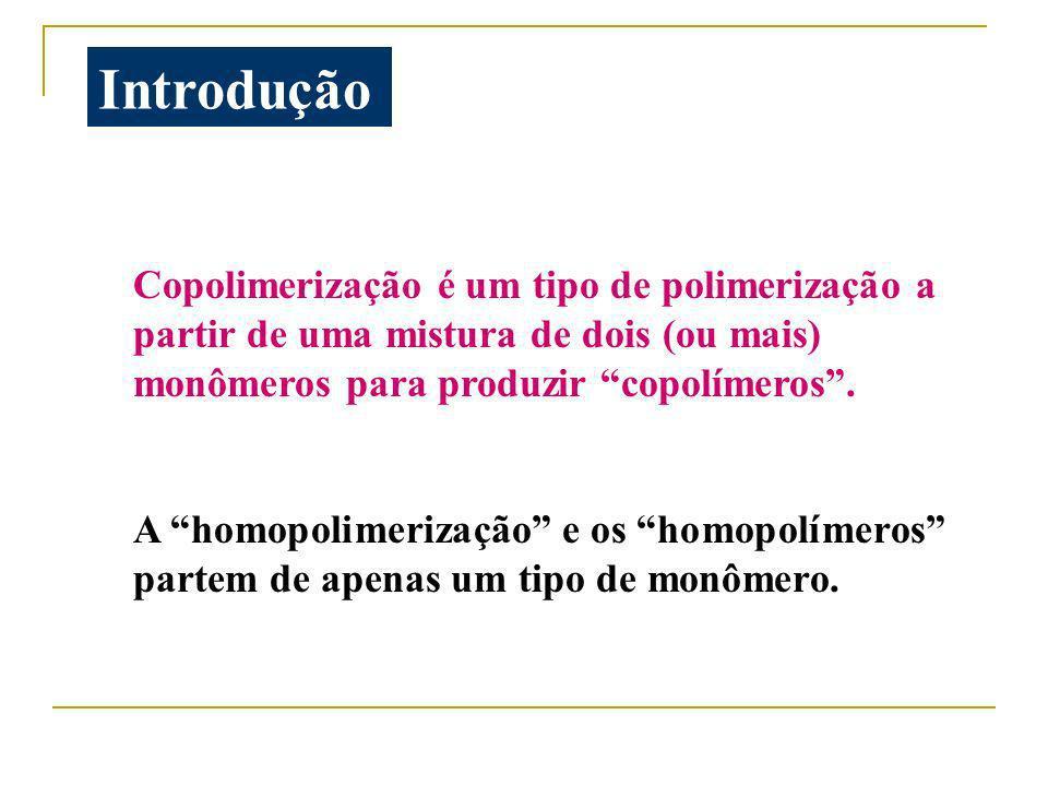 Introdução Copolimerização é um tipo de polimerização a partir de uma mistura de dois (ou mais) monômeros para produzir copolímeros .