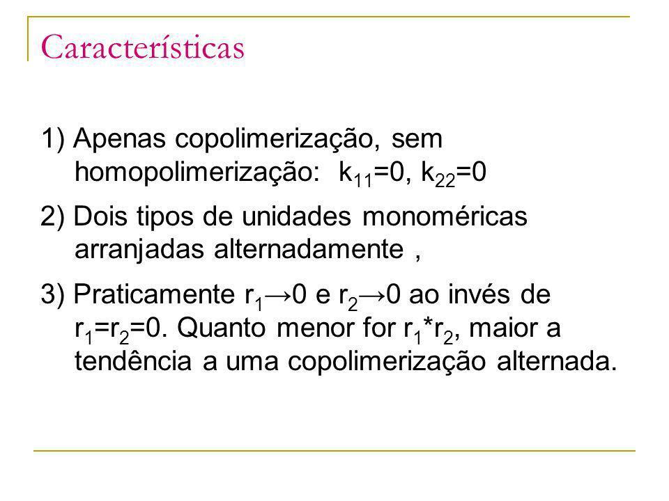 Características 1) Apenas copolimerização, sem homopolimerização: k11=0, k22=0. 2) Dois tipos de unidades monoméricas arranjadas alternadamente,