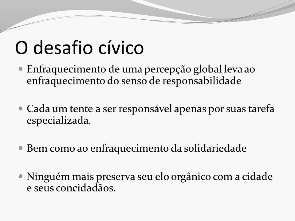 O desafio cívico Enfraquecimento de uma percepção global leva ao enfraquecimento do senso de responsabilidade.