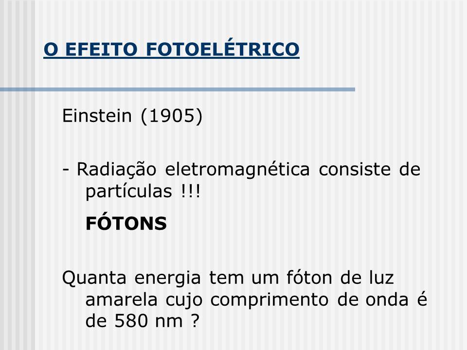 O EFEITO FOTOELÉTRICO Einstein (1905) - Radiação eletromagnética consiste de partículas !!! FÓTONS.