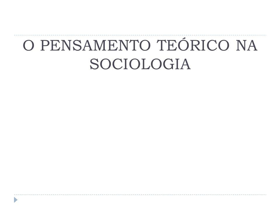O PENSAMENTO TEÓRICO NA SOCIOLOGIA