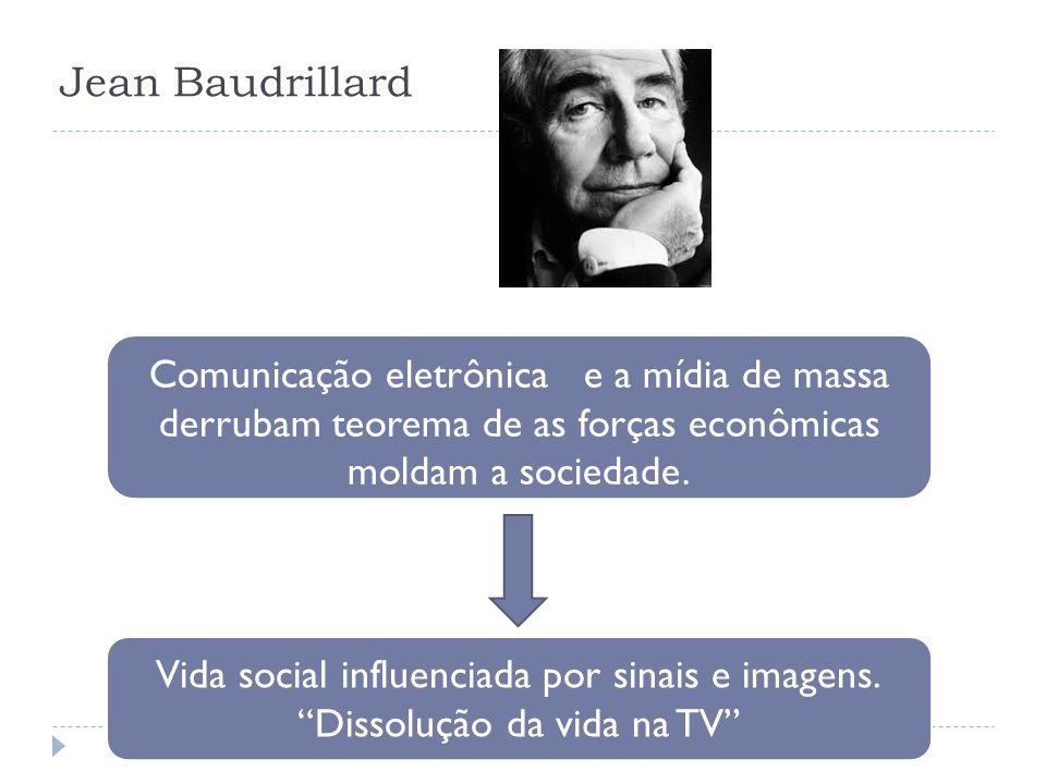 Jean BaudrillardComunicação eletrônica e a mídia de massa derrubam teorema de as forças econômicas moldam a sociedade.