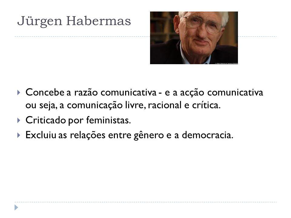 Jürgen Habermas Concebe a razão comunicativa - e a acção comunicativa ou seja, a comunicação livre, racional e crítica.